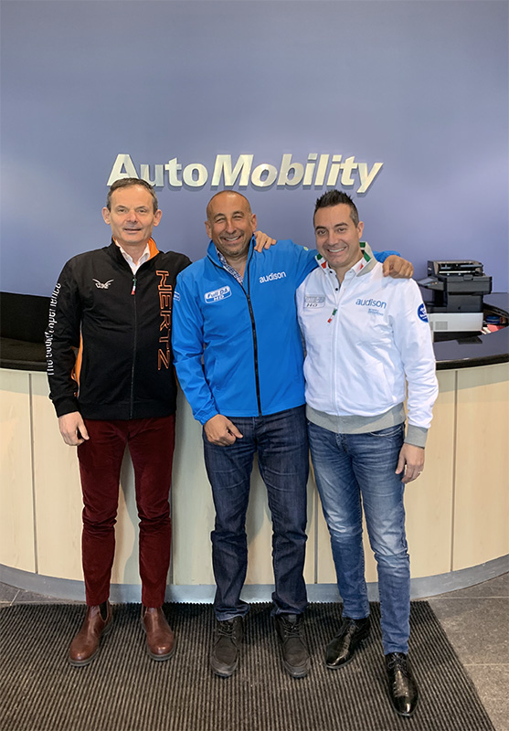 From left to right: Hetz marketing manager Leonardo Falcetelli , Automobility Rob and Hertz international sales director Massimo Mezzadri